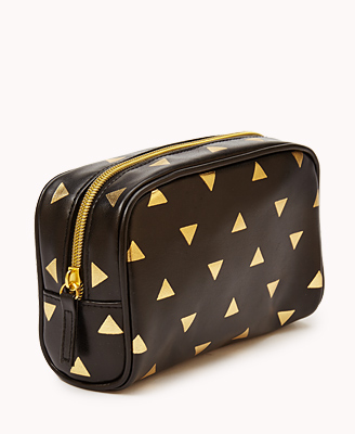 Metallic Triangle Print Cosmetic Pouch